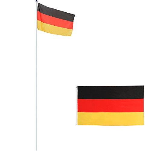 Alu Fahnenmast 6,50m inkl. Bodenhülse & Deutschlandfahne, Flaggenmast mit Seilzug