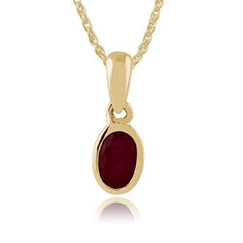 Collar de rubíes Gemondo, 9ct de oro amarillo con colgante de rubí Oval 0.32ct 45 cm cadena