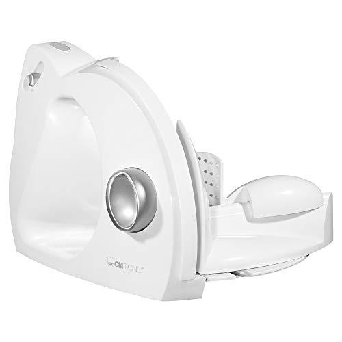 Clatronic AS 2958 Cortafiambres, Corte Ajustable, 180 W, Color Blanco, plástico, 3 Velocidades, Plateado