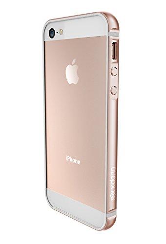 X-Doria Bump Gear Plus Aluminium Clip-On Hülle Case Cover mit Gummi-Einlage für iPhone 5SE - Rose Gold Gold