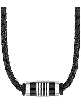 s.Oliver Herren-Kette Halsband Männerkette 47+3 cm verstellbar mit Anhänger Edelstahl Beads IP Black Leder schwarz