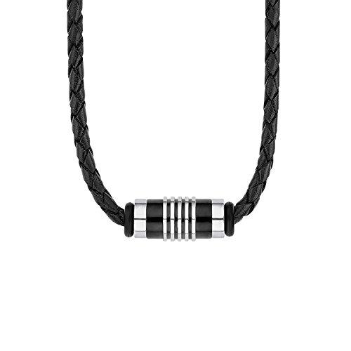 s.Oliver Herren-Kette mit Anhänger aus Edelstahl, Beads IP Black und schwarzem Leder, längenverstellbar (47+3 cm)