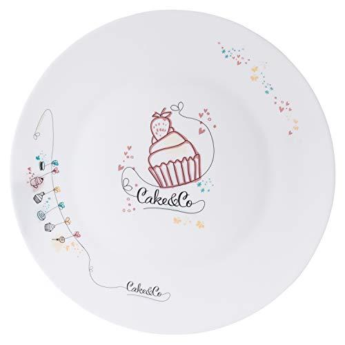 er Cake & Co | Glas-Teller weiß | Ø 33 cm | Torten-Platte | Servier-Geschirr | Kuchen-Buffet | Küchen-Zubehör | Backen & Dekorieren ()