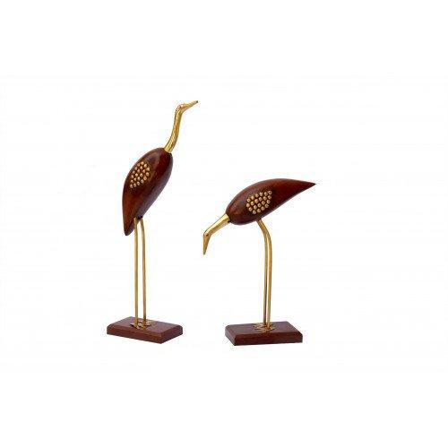 Home Deko 30,5cm Crane Vogel-Set massiv Messing und Holz Crane Statue perfekt Zustand Statue Metall Skulptur Figur Statue Ornament Crafts Home Dekoration Wohnzimmer Büro Dekoration