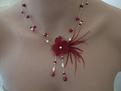 Collier Original Rouge Bordeaux/Ivoire/Blanc p robe de Mariée/Mariage/Soirée/Cérémonie/Coktail Fleur Plumes Perles (pas cher petit prix)