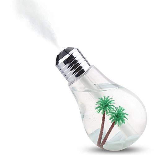 Umidificatore a ultrasuoni Cool Mist, design lampadina con paesaggio, umidificatore d'aria personale 400 ml, modello da scrivania, ultra silenzioso con luce notturna, cambiamento di 7 colori,