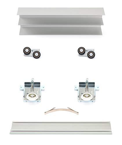 Schiebetürbausatz inkl. Rollen für 2 Türen, Positionsfinder, Boden- und Deckenschiene in 3000 mm | Füllung kommt von Ihnen - Holz in 16-22 mm möglich | Bringen Sie Ihre Platten zum Rollen