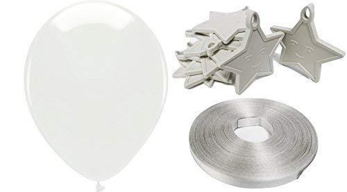 INERRA Luftballon Party Packung - inklusive 25 X Luftballons, 10 X Star Gewichte & 50 Metres of Luftballon Kringelband - Weiß Thema
