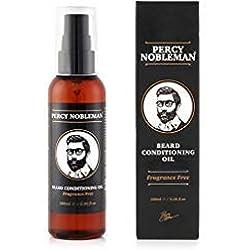 Aceite para barba - Aceite acondicionador de Percy Nobleman especial para barbas - Un suavizante y acondicionador profundo para barbas de hombres (100 ml)