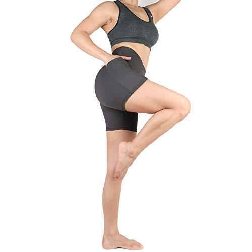 LK LEKUNI Sport Leggings Damen Kurze 3/4 Lang Sporthose Sportsleggins Laufhose Für Fitness Gym Yoga Mit Mesh und Taschen Elastisch Dehnbar Verbesserte Materialien(Grau,L,3) -