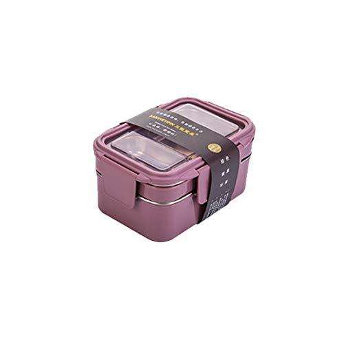 ose aus Edelstahl 304, quadratische, zweischichtige, auslaufsichere Brotdosen, tragbar für Kinder, Erwachsene, Büro, Schule, 1200 ml, dunkelrosa ()