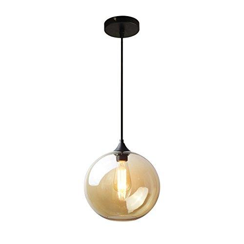 MZStech Spherical Klassische Glas Pendelleuchte, Celling Light Base E27 Birne (Bernstein) -