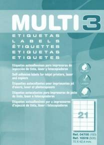 Etichette adesive MULTI3per Inkjet/Laser/fotocopiatrici Cantos dritti 100fogli 70x 42.4mm