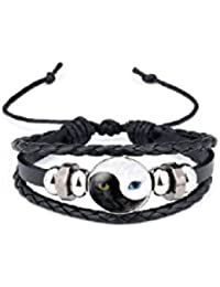 TBOP RAKHI MEN WRISTBANDS yin and yang Tai Chi cat's eye time gem leather in black white color