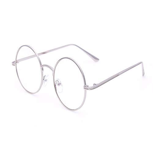 Zebuakuade Klassische mentale Runde Eyewear Frame Brillengestell Nicht verschreibungspflichtige Brillen für Damen, Herren (Color : Silver)