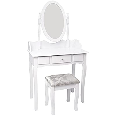 Home Discount Nishano Dressing Table With Stool 1 Drawer Oval Adjustable Mirror Bedroom Set Makeup Cosmetics Dresser Furniture, White - cheap UK light shop.