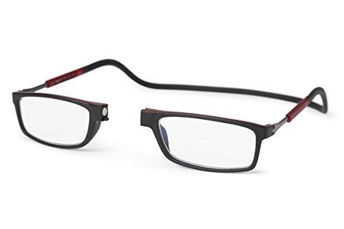 Neu Slastik Magnetisch Clic Stil Lesebrille Rahmen Doku 010 mit weichem Behälter, Verstellbare Bügel & Antireflektierende Brillengläser Dtr +3.5
