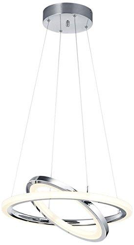 Trio Leuchten LED-Pendelleuchte Saturn, chrom, Schirm acryl weiß 376013606 -