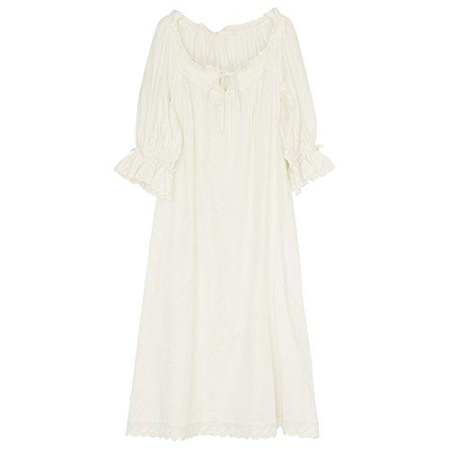 JINSHENG Pyjama Frauen frühling Sommer locker entspannt Freizeit sexy süß dünne Lange röcke Gericht einfache Herbst Sieben - Punkte - ärmel röcke,(m),weiße