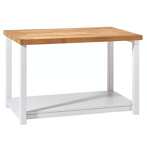 Werkbank kompakt, Buchemassivplatte – Breite 1140 mm, mit Ablageboden – fahrbar – Arbeitsplatz Arbeitstisch Montagetisch Werkbank Werktisch - 4