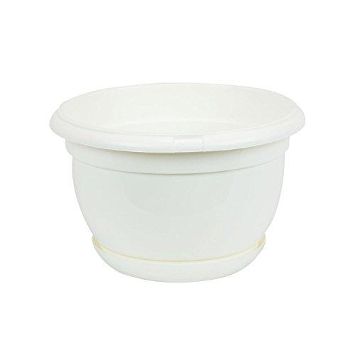 Pot de fleur plastique Malta 21 cm blanc avec twist soucoupe