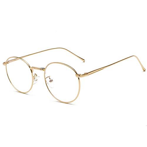 Volon Brille Retro Glasrahmen-Ebenenspiegel Dekobrille Nerdbrille Klassisches Rund Rahmen Glasses,,Gold