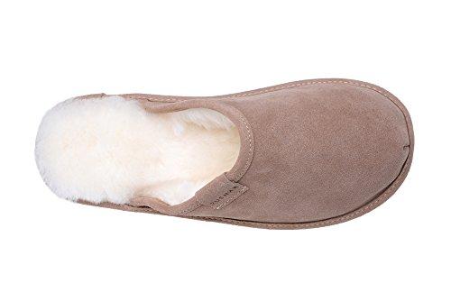 Natur Lammfell Hausschuhe /Pantoffeln Fell Damen Schlappen Beige/Weiß