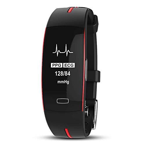 MRXUE Smart Watch schaut Sich den Wasserdichten Herzfrequenz-Monitor für Kinderfrauen an, die Bluetooth Pedometer für Android iOS Smartphone haben,Red