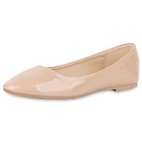 SCARPE VITA Damen Klassische Ballerinas Elegante Slip On Schuhe Lack Slipper Flache Abendschuhe Flats Glitzer 181583 Nude Lack 38 -
