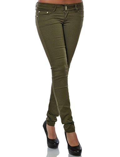 Damen Hose Skinny Slim Fit Stretch (Röhre weitere Farben) No 15688 Grün