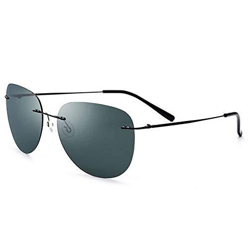 Radfahren brille sonnenbrille Mens Carbon Fibre Temples mit klassischen rechteckigen polarisierten rahmenlosen Sonnenbrillen aus Metall stilvolle und dauerhaften ( Farbe : Black frame dark green )