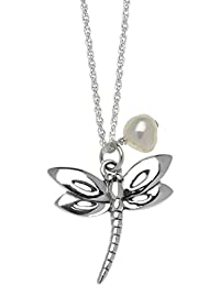 Jodie Rose Ivory Colour Freshwater Pearl and Sterling Silver Dragonfly Necklace of Length 45.5 cm