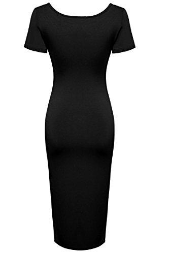 ZEARO Damen Klassische Bodycon Party Kleid Midikleid Cocktailkleid Abendkleid Schwarz
