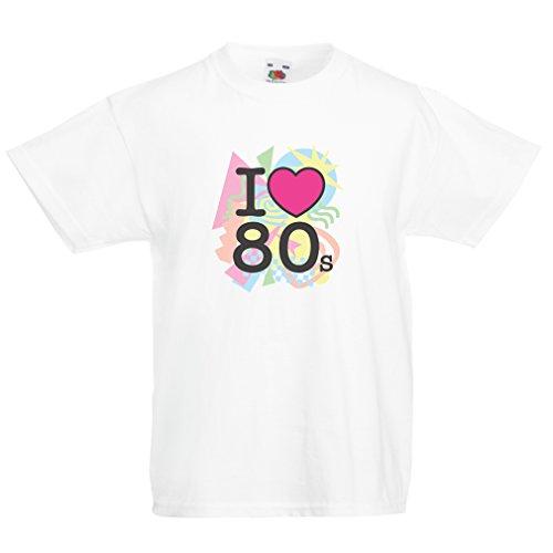 Ideen Kostüm Für Mädchen Teenager 80's (Kinder T-Shirt Ich liebe 80er Konzert t-shirts Weinlese Kleidungs Musik t-shirts geschenke (9-11 years Weiß)