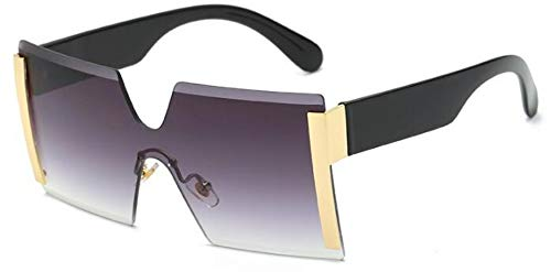 Sonnenbrillen. Frauen Übergroße Brille Halb Randlose Quadratische Sonnenbrille Designer Große Weibliche Sonnenbrille Outdoor Reisen Sommer Staub Uv400 Gold Grau