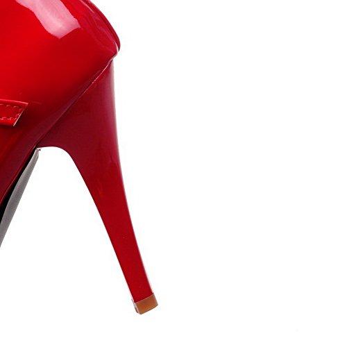 Chaussures Haut Rond Boucle Femme Agoolar Couleur Verni À Talon Unie wzTnaqxI1