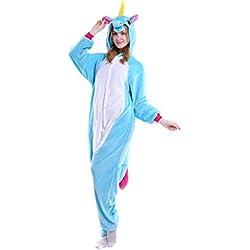 Oksakady Adulto Unisex Unicornio Onesies Franela Cosplay Animales Pijamas Con Capucha Ropa de Dormir