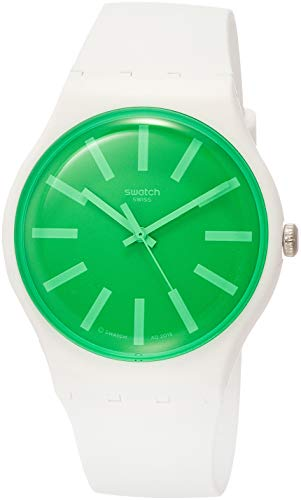 Swatch Herren Analog Quarz Uhr mit Silikon Armband SUOW166