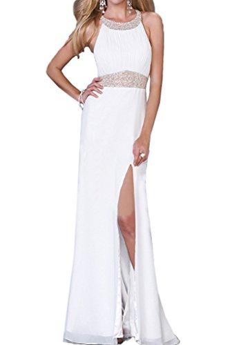 ivyd ressing Damen onirico pietre Girocollo fessura chiffon abito del partito Prom abito Fest vestito abito da sera Bianco