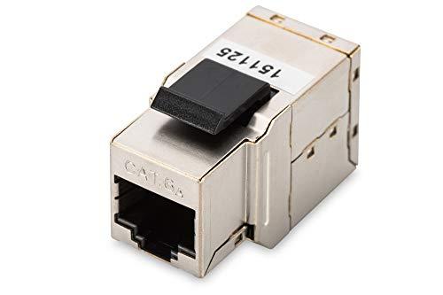 DIGITUS Keystone Modul, Cat 6A Kupplung, 2x RJ45 Buchse (8P8C), für Modulare Patchpanel, 360° Geschirmt - 500 Mhz Patch-kabel