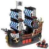 Fisher price Imaginext Black and Red Pirate Ship with 2 Figures by Fisher-Price