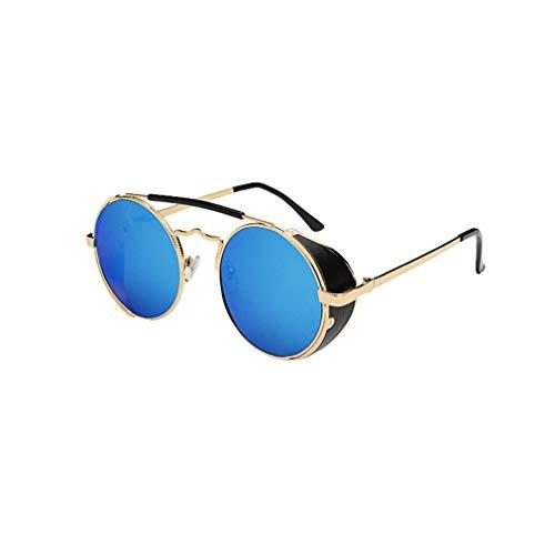 Yuandongxing Steampunk Sonnenbrille Frauen Männer Runde Metallrahmen Doppel Brücke Sonnenbrille 70 S Vintage Retro Shades