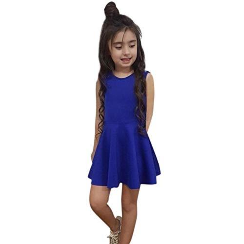 Kinder Männer Kluge Kostüm - Livoral Mädchen rückenfrei Prinzessin Kleid Kleinkind Kind Baby ärmellose Feste Schleife Kleid(Blau,100)