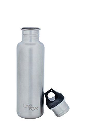 Liv&Me Edelstahl Trinkflasche 'Spirit' mit Halb Edelstahl Schraubdeckel 'Trust'. Auslaufsicher, stabil, lebensmittelechte Flasche für Sport, Schule und Kinder, Größe 750 ml (Glas Flasche Mit Cd-deckel)