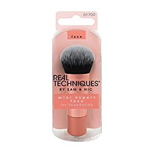 Real Techniques 1700M Mini Expert Face Brush – Mini Brocha para Base de Maquillaje, Naranja, 40 g