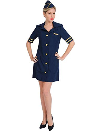 (Sexy Stewardess Kostüm Karneval in Blau Mottoparty Verkleidung Damen Large)
