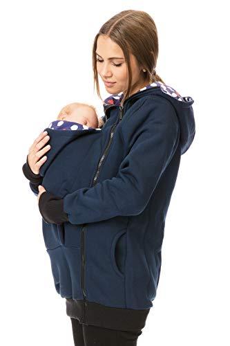 GoFuture Damen Tragejacke für Mama und Baby Känguru Klassiker SWEATSTOFF mit Hochkragen Viva GF8020XA in Marine mit weißen Punkten und Herzen auf Violett (L)