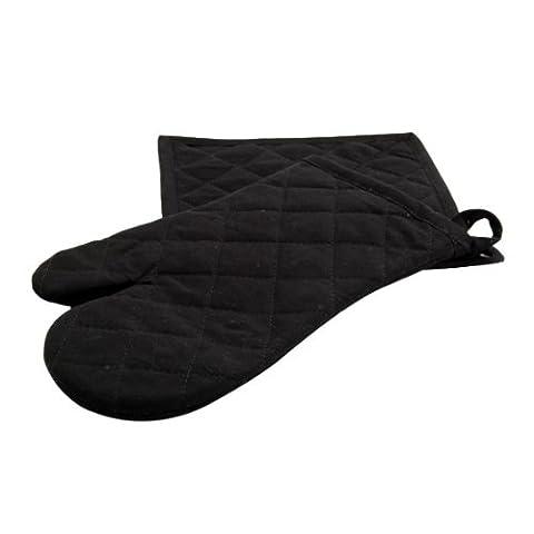 Ligne Décor Gant + Manique Uni Coton Noir 20 x 20 cm