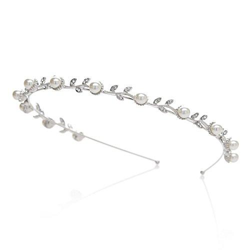 SWEETV Strass Hochzeit Stirnbänder Kristall Blatt Perle Braut Tiara Diadem Kopfschmuck Silber Haarreif