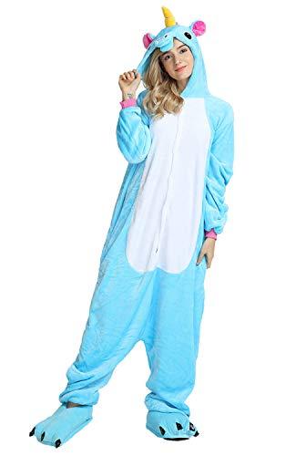 Pigiama Unicorno Cosplay Animale Costume di Carnevale Halloween Unisex Tuta Intera Flanellaper Adualto con Cerniera Botton Coda (Taglia M(altezza 158cm-165cm), Blu Unicorno)
